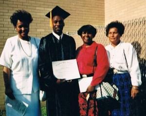 Graduation from United Bible College Newark NJ 1995 (fr Left Evangelist Marlene Simmons, Brother R. Boswell, Evangelist Regina Gainer & Nurse Geraldine Wade of Holy Temple COGIC TomsRiver NJ.