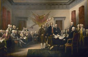 "Source: John Trumbull (1756–1843) painting ""Declaration of Independence"""