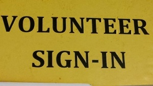 Voluntter sign at the SA